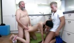 Two men spraying jizz on the perfect body of lustful brunette