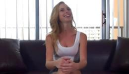 Stunning cutie in sexy underwear undressing and giving blowjob to her interviewer