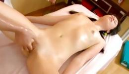 Brassy enchantress allows mister to caress her womb