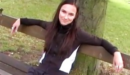Long haired brunette bitch is posing nice before dick sucking