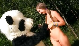 This huge panda's choda gonna be stuffed in the tiny knockout's mouth