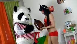 Prettyish bombshell having a wild fuck with her new panda toy