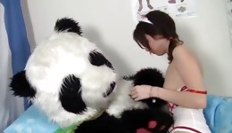 This stupendous young brunette hottie loves panda's johnson