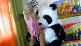 Fascinating goddess having intercourse with big nice panda toy