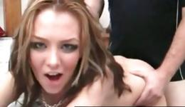 Slutty bitch with theatrical make up getting mouth stuffed with dick