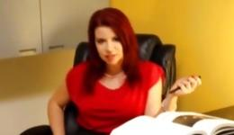 Red-haired beast with appetizing body undressed and took the cock in her hands