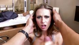 Busty and horny bitches skillfully sucking members of handsome guys