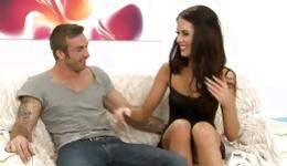 Watch on great brunette bitch is taking pleasure with brutally hot dude